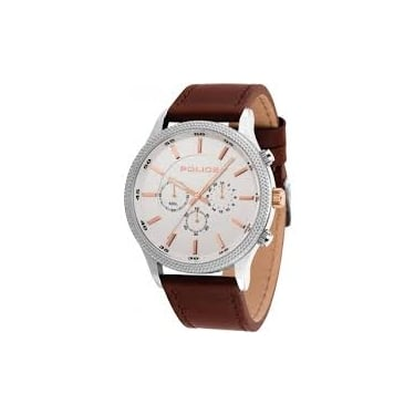 Police Gents Brown Leather Pace Watch