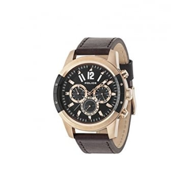 Police Gents Brown Leather Watch