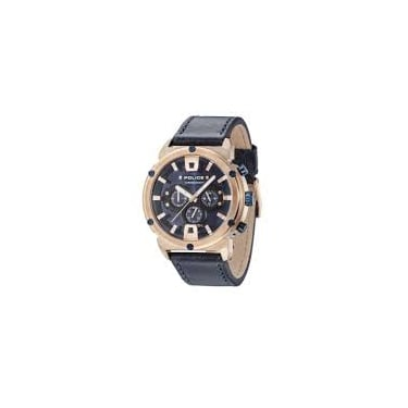 Police Gents Navy Leather Chronograph Watch