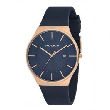 Police Gents Navy Rubber Watch