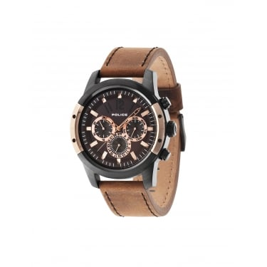 Police Gents Scrambler Camel Leather Strap Watch