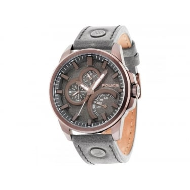 Police Navigator Gents Grey Leather Strap Watch