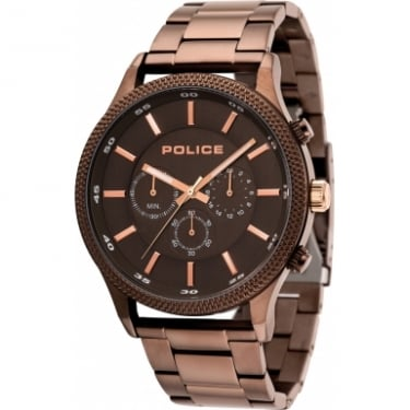 Police Pace Gents Brown Metal Strap Watch