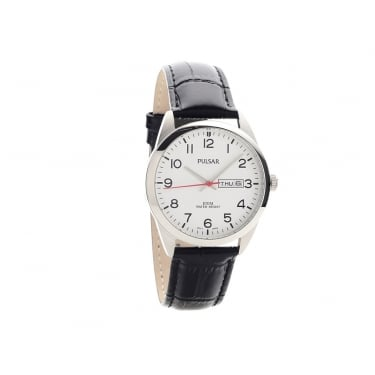 Pulsar Gents Black Leather Watch