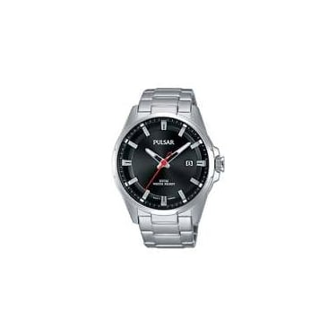 Pulsar Gents Silver Black Face Watch
