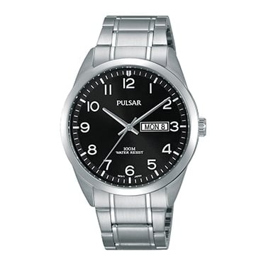 Pulsar Gents Silver Black Watch