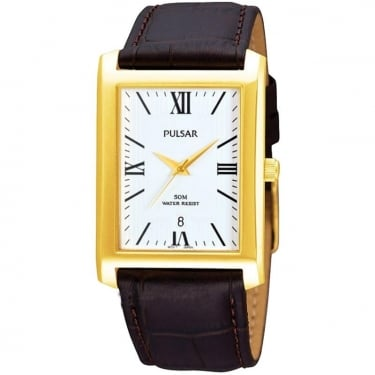 Pulsar Gents Watch Black Leather Strap