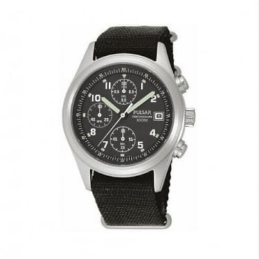 Pulsar Gents Watch Black Strap and Face