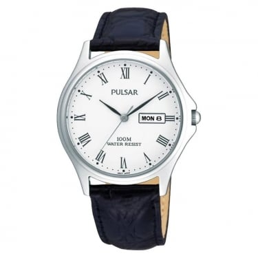 Pulsar Gents Watch Navy Leather Strap