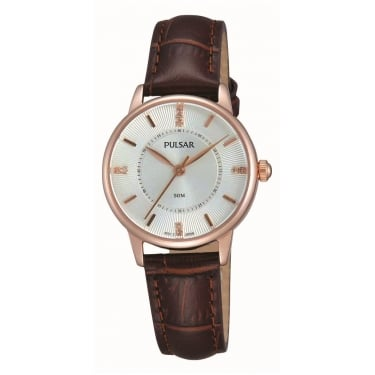 Pulsar Ladies Brown Leather Strap Watch