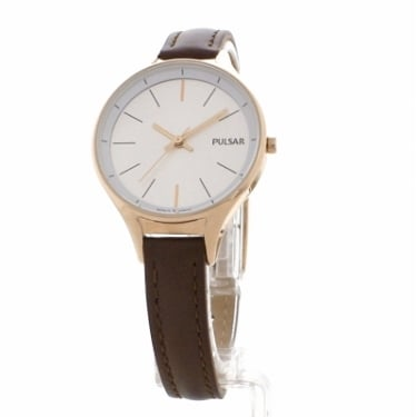 Pulsar Ladies Brown Leather Watch