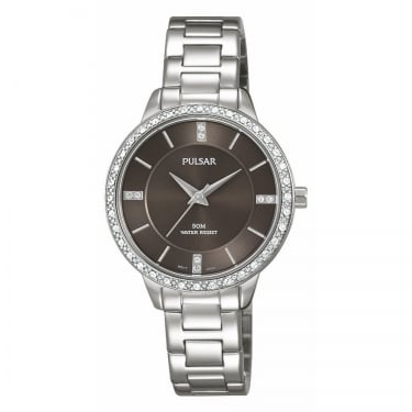 Pulsar Ladies Silver Black Face Watch