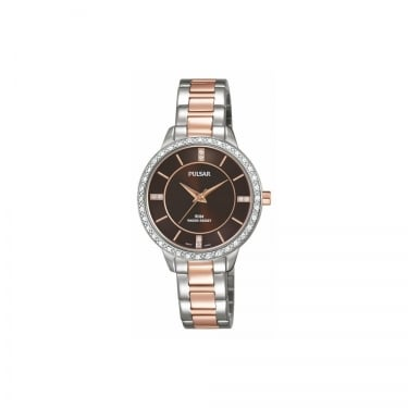 Pulsar Ladies Silver Rose Gold Brown Watch