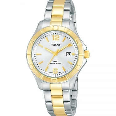 Pulsar Ladies Silver Yellow Gold Sport Watch
