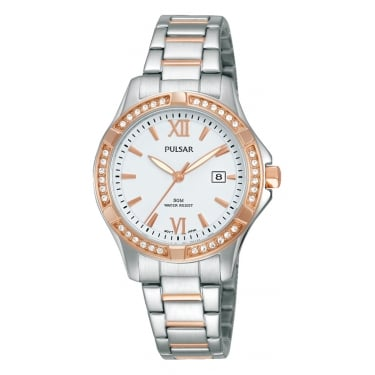 Pulsar Silver and Rose Gold Ladies Watch