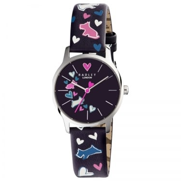 Radley Ladies Navy Dog Heart Watch