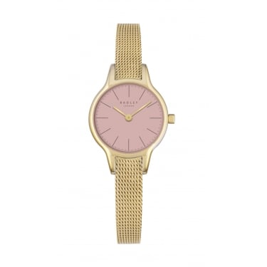 Radley Ladies Pink Dial With Gold Plated Mesh Bracelet Watch