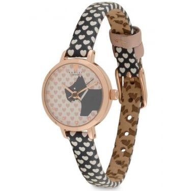 Radley Ladies Rose Gold Plated Blue Heart Strap Watch
