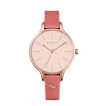 Radley Ladies Rose Gold Plated Pink Leather Strap Watch