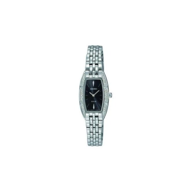 Seiko Gents Silver Strap with Black Face Watch