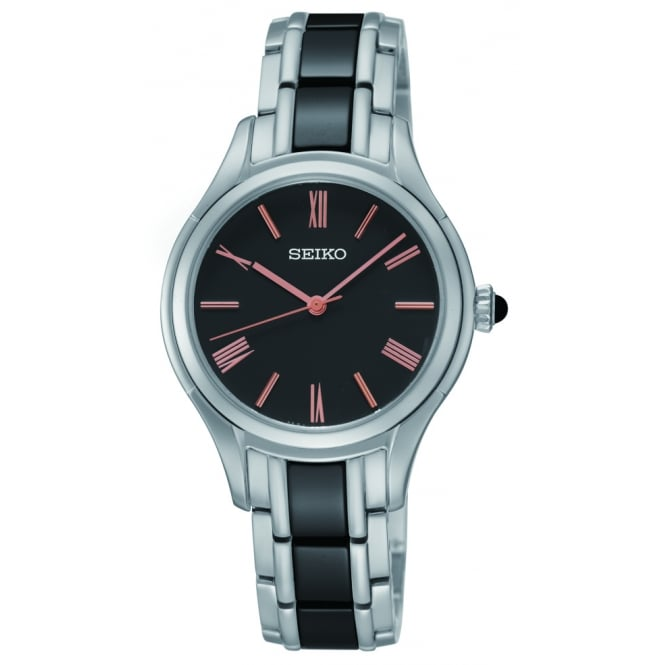 Seiko Ladies Silver and Black Strap with Black Face Watch