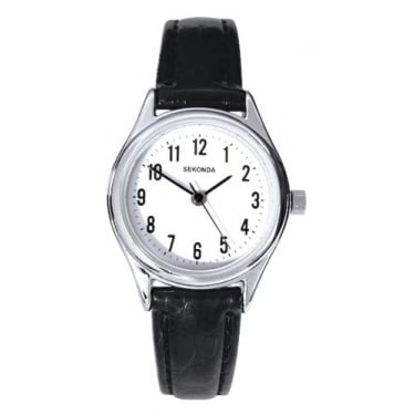 Sekonda Gents Black Leather Strap Watch