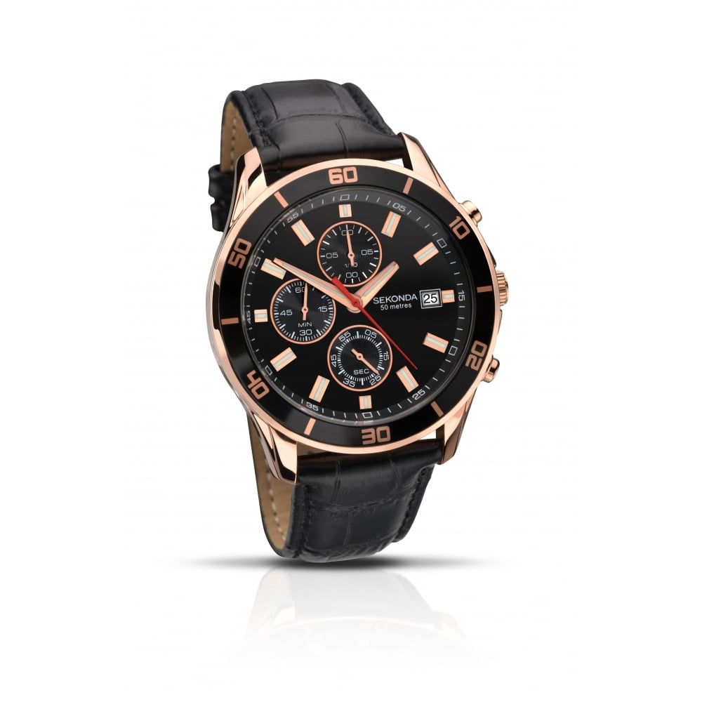 fe7337bc5 Sekonda Gents Black Leather Strap with Black Face Watch - Watches ...
