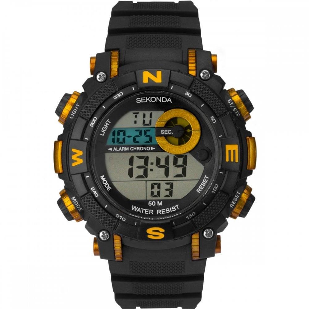 338604f6d Sekonda Gents Black Yellow Alarm Watch - Watches from Faith Jewellers UK