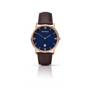 Sekonda Gents Brown Leather Strap with Navy Face Watch