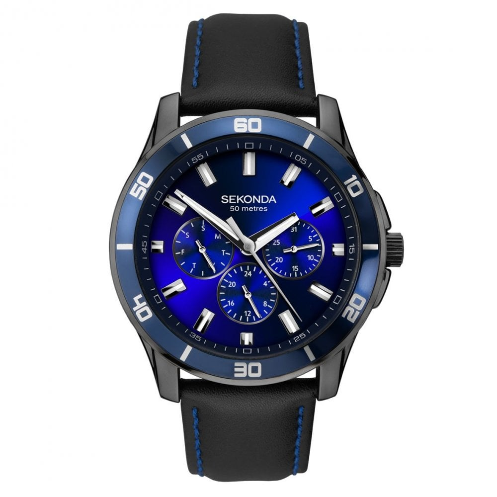6227e236e Sekonda Gents Midnight Blue Black Leather Strap Watch - Watches from ...