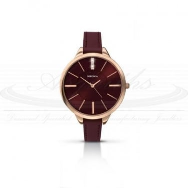 Sekonda Ladies Burgandy Leather Strap with Burgandy Face Watch