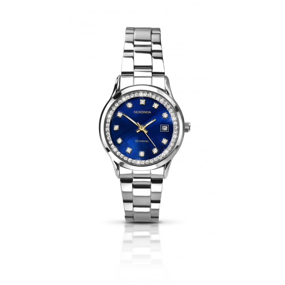 Sekonda Ladies Silver Strap with Blue Face Watch - Women s Watches ... 7ccd1062db9f