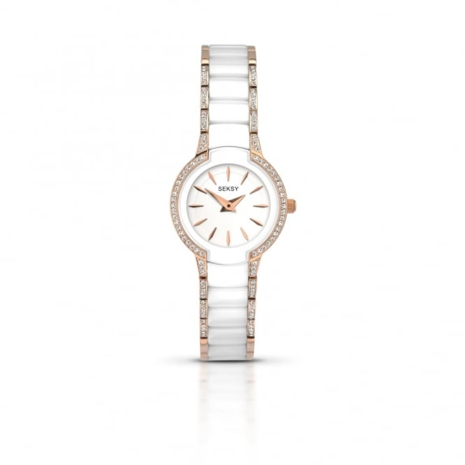 Sesky Seksy Ladies White Rose Gold Watch