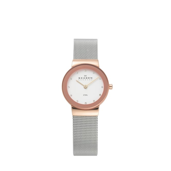 Skagen Freja Refined Rose Gold and Silver Watch