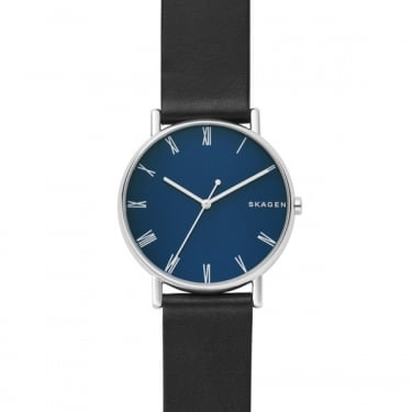 Skagen Gents Black Leather Signatur Watch