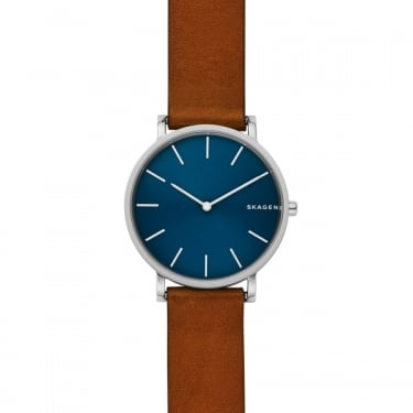 Skagen Gents Hagen Brown Leather Strap Navy Face Watch