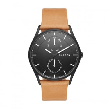Skagen Gents Holst Black Face Leather Strap Watch
