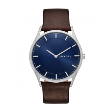 Skagen Gents Holst Brown Leather Navy Face Watch