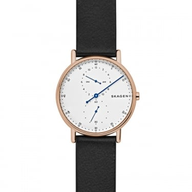 Skagen Gents Signatur Black Leather Watch