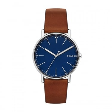 Skagen Gents Signatur Brown Leather Navy Face Watch