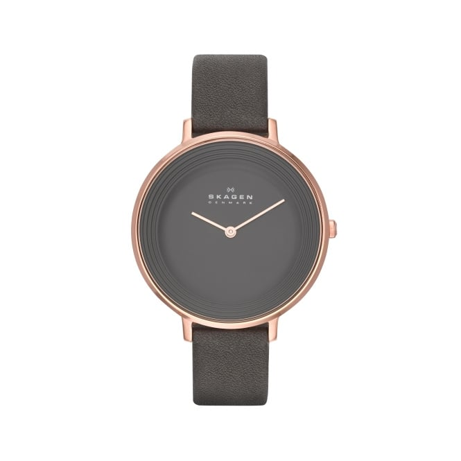 Skagen Grey Leather Strap Watch