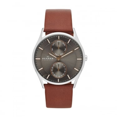 Skagen Mens Brown Leather Strap Holst Watch
