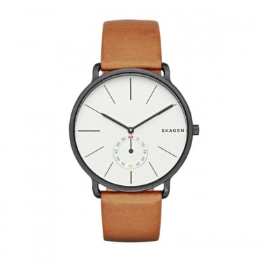 Skagen Mens Hagen Brown Leather Strap Watch