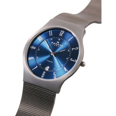 Skagen Watch Gents Titanium Mesh Blue