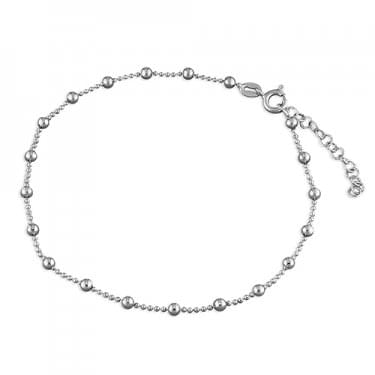 Sterling Silver 25cm Beaded Anklet