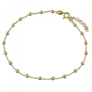 Sterling Silver 25cm Yellow Gold Beaded Anklet