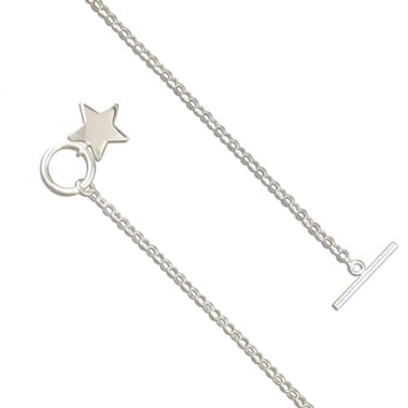Sterling Silver 7.5inch T Bar Mini Star Bracelet