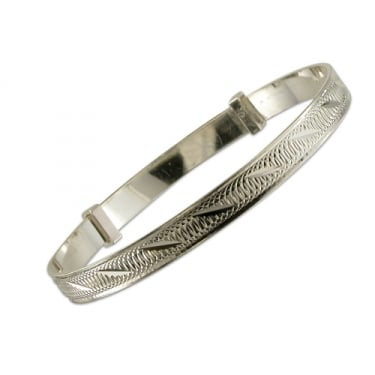 Sterling Silver Babies Diamond Cut Expanding Bangle
