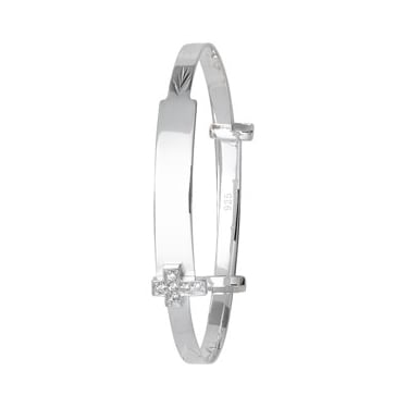 Sterling Silver Baby ID Bangle With Cross
