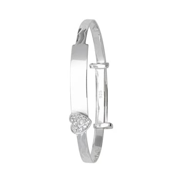 Sterling Silver Baby ID Bangle With Heart